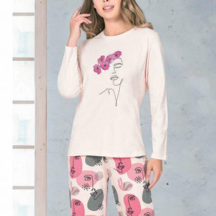 NBB Pembe Desenli Kadın Pijama Takımı